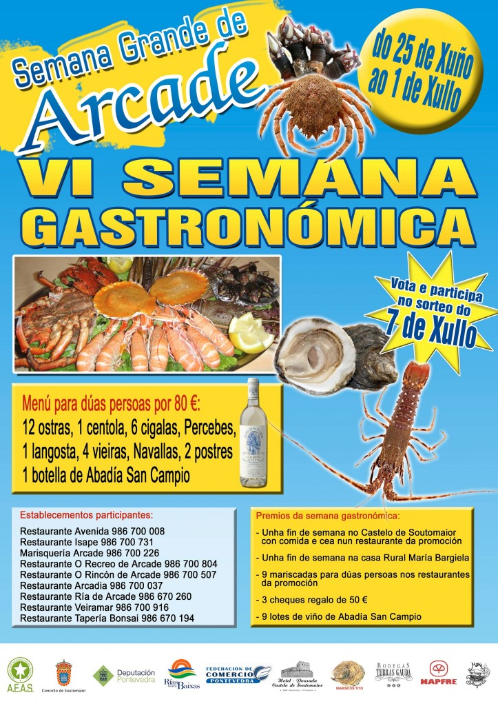 Cartel anunciador de la VI semana gastronmica de Arcade Soutomaior